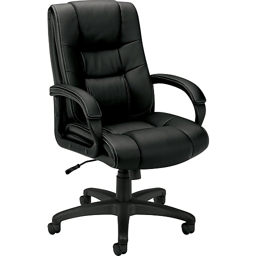 HON High-Back Executive Chair, Center-Tilt, Black Vinyl, Contrast Stitching, Fixed Arms (HVL131EN11.COM)