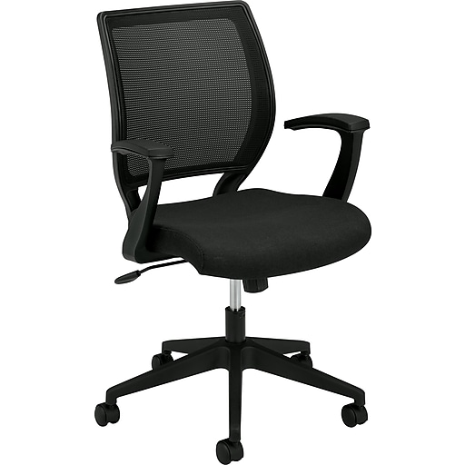 HON Mesh Mid-Back Task Chair, Center-Tilt, Fixed Arms, Black Fabric (HVL521VA10.COM)