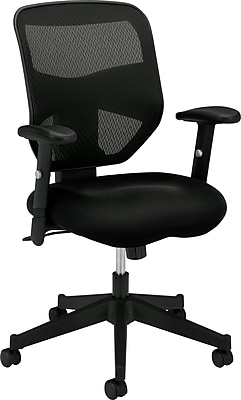 HON Prominent Mesh High-Back Task Chair, Center-Tilt, Adjustable Arms, Black Sandwich Mesh Seat NEXT2018 NEXT2Day