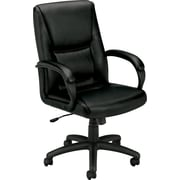 basyx by HON Leather Executive Office Chair, Fixed Arms, Black (BSXVL161SB11)