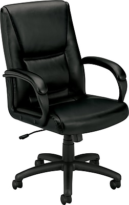 HON High-Back Executive Chair, Center-Tilt, Fixed Arms, Black SofThread Leather NEXT2018 NEXTExpress