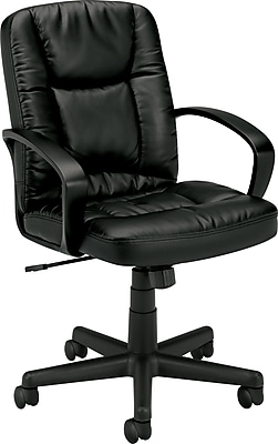 HON Mid-Back Executive Chair, Center-Tilt, Fixed Arms, Black SofThread Leather NEXT2018 NEXT2Day