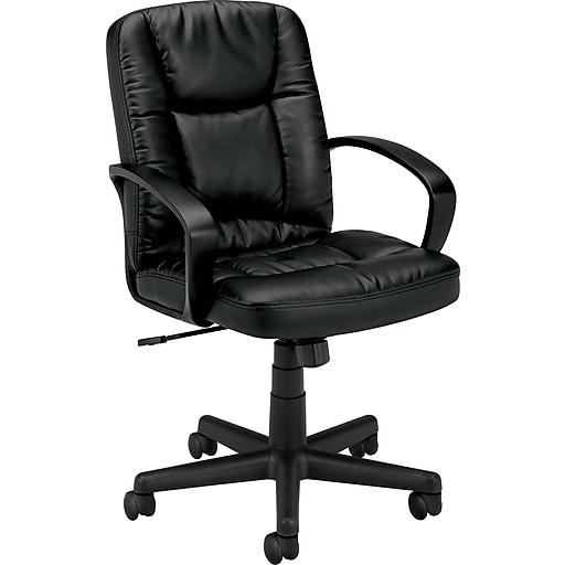 HON Mid-Back Executive Chair, Center-Tilt, Fixed Arms, Black SofThread Leather (HVL171SB11.COM)