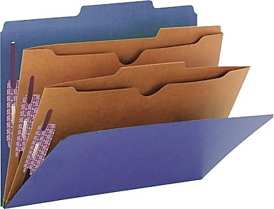 Smead Pressboard Classification Folders, 2 Pocket Dividers, Dark Blue, Letter, 8 1/2