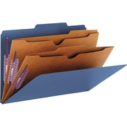"Smead Pressboard Classification Folders, 2 Pocket Dividers, Dark Blue, Legal,-size Holds 8 1/2"" x 14"", 10/Box"