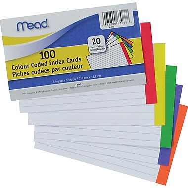 Mead® Colour Coded Index Cards, 3