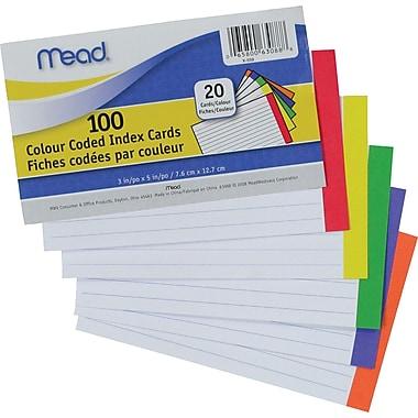 Mead® - Fiches codées par couleur, 3 po x 5 po, paq./100