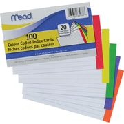 "Mead® Colour Coded Index Cards, 3"" x 5"", 100/Pack"