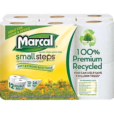 Marcal Small Steps 100% Recycled 2-Ply Bath Tissue Rolls, White, 12 Rolls/Pack, 12 Rolls/Case (6112/06012)