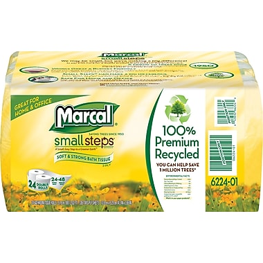 Marcal Small Steps 100% Recycled Bath Tissue Rolls, White, 24 Rolls/Case (6224)