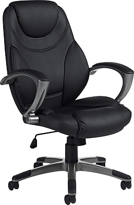 Global High-Back Bonded Leather Executive Chair, Fixed Arms, Black