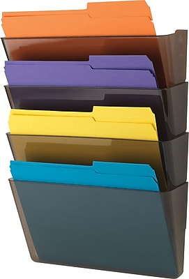 Staples Expandable Wall Pocket, Smoke colored Letter-Sized, 4 pocket (20220-CC)