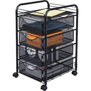 Safco® Onyx 4-Drawer Mesh Mobile Supply Cart, Black
