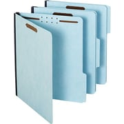 "Globe-Weis® Pressboard Folders with Fasteners, 2 Fasteners, Light Blue, LETTER-size Holds 8 1/2"" x 11"", 25/Bx"