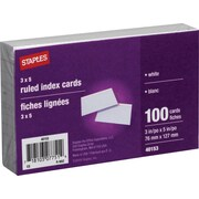 "Staples® Ruled 3"" x 5"" White Index Cards, 100/Pack"