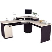 Bestar - Poste de travail en coin de la collection Hampton, fini granite sable et charbon