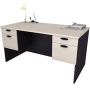 Bestar – Bureau de direction 60 po de la collection Hampton, fini sable granité et charbon