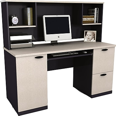 Bestar Hampton Collection Computer Workstation with Hutch, Sand Granite & Charcoal