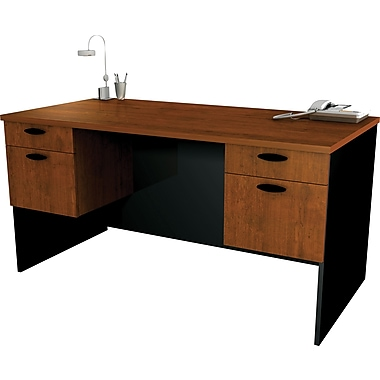 Bestar - Bureau de direction 60 po de la collection Hampton, fini Toscane et noir