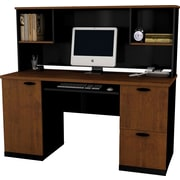 Bestar Hampton Collection Computer Workstation With Hutch, Tuscany & Black