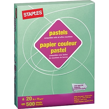 Staples® 30% Recycled Pastel Coloured Copy Paper, Letter, 8-1/2