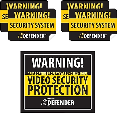 Defender Indoor Security System Warning Sign with 4 Window Warning Stickers