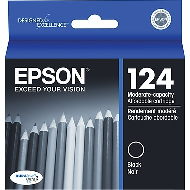Epson® 124 Black Ink Cartridge, Moderate Capacity (T124120-S)