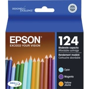 Epson 124 Color C/M/Y Ink Cartridges (T124520), Low Yield, Combo 3/Pack