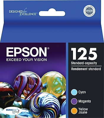 EPSON® 125 T125520 Ink Cartridge, Cyan, Yellow, Magenta, Multi-pack (3 cart per pack)