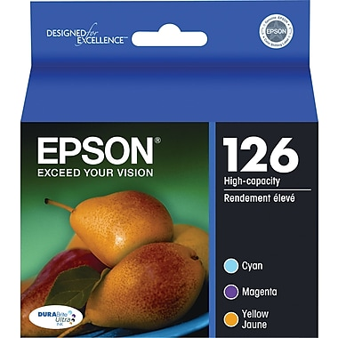 Epson® 126 (T126520-S) Cyan, Magenta & Yellow Ink Cartridges, High-Yield