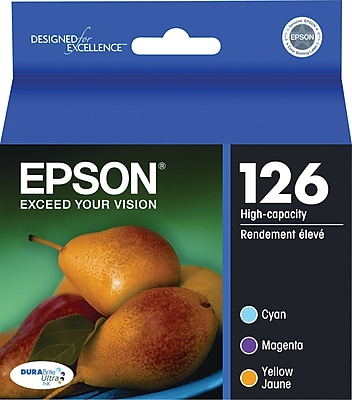 EPSON® 126 T126520 High-Capacity Ink Cartridges, Cyan, Yellow, Magenta, Multi-pack (3 cart per pack)
