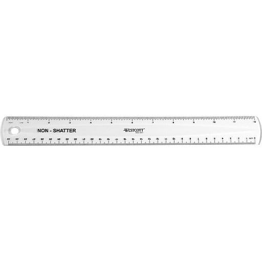 "Westcott® Shatterproof 12"" Plastic Ruler (13862/55305)"