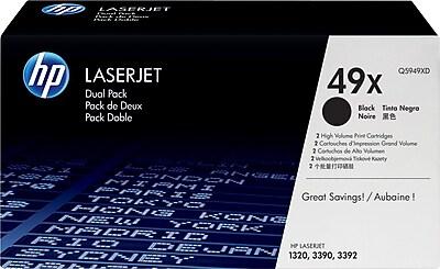 HP 49X Black Toner Cartridges (Q5949XD), High Yield, Twin Pack