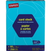 "Staples® Brights Colored Card Stock, 8 1/2"" x 11"", Bright Blue, 250/Pack (21101)"