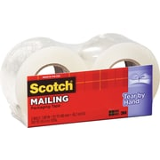 "Scotch Tear-By-Hand Mailing Packing Tape, 1.88"" x 50 yds, Clear, 2/Pack"