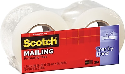 Scotch Tear-By-Hand Mailing Packing Tape, 1.88