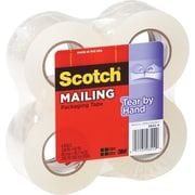 "Scotch Tear-By-Hand Mailing Packing Tape, 1.88"" x 50 yds, Clear, 4/Pack"