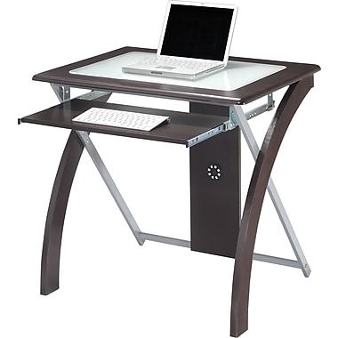 OSP Designs™ X-Design Glass Top Computer Desk, Espresso