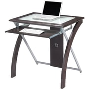 OSP Designs™ X-Design Glass Top Computer Desk, Espresso
