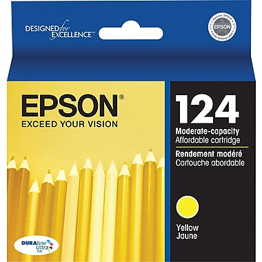 Epson 124 Yellow Ink Cartridge (T124420), Low Yield
