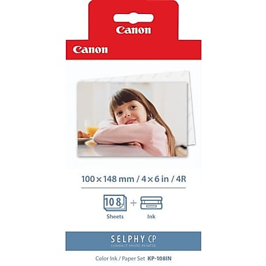 Canon® - Ensemble de papier photo couleur KP-108IN 4 po x 6 po et cassette d'encre (3115B001)