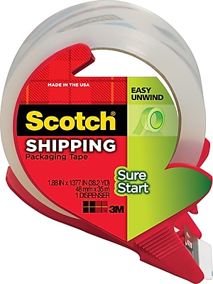 Scotch Sure Start Shipping Packing Tape with Dispenser, 1.88
