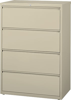 Staples 4-Drawer Commercial Lateral File Cabinet, Putty (30-Inch Wide)