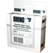 "DYMO Rhino Labeling Tape, Industrial Strength, Nylon, Easy to Peel, Thermal Printing, 1/2""x11-1/2', Black on White"