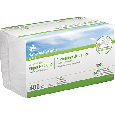 Sustainable Earth by Staples® 100% Recycled Paper Napkins, 1-Ply, 400/Pack
