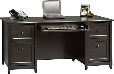Sauder Edgewater Collection Executive Desk Estate Black Staples