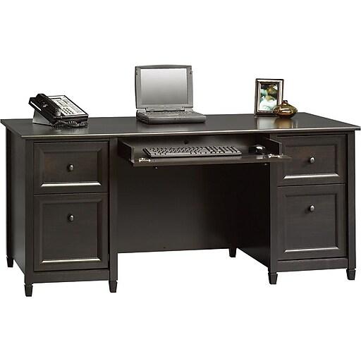 sauder 174 edgewater collection executive desk estate black