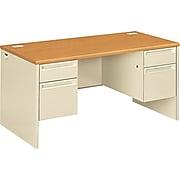 """HON 38000 Series H38155 60"""" Double Pedestal Desk, Harvest (HON38155CL)"""