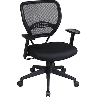 Office Star Professional Air Grid Back Manager's Chair with Fabric Seat, Black