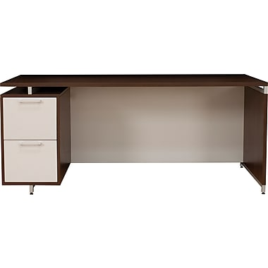 Regency OneDesk Collection Single Pedestal Credenza, Java/White Finish (ONCSSP7124JV)